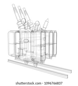 Power transformer concept. Vector rendering of 3d. Wire-frame style. The layers of visible and invisible lines are separated