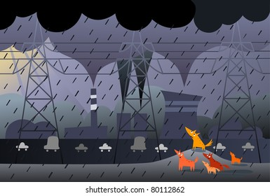 Power transmission, dogs and pollution - vector version