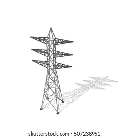 Power transmission tower. Isolated on white background. 3d Vector illustration.