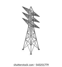 Power transmission tower. Isolated on white background. 3d Vector illustration.Isometric view.