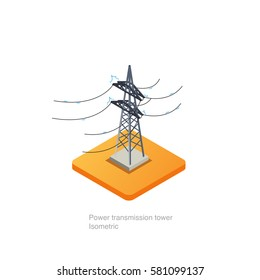 Power transmission tower isometric, vector