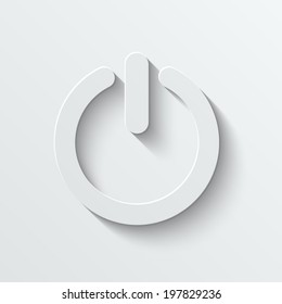 Power vector icon - paper illustration with shadow on light background