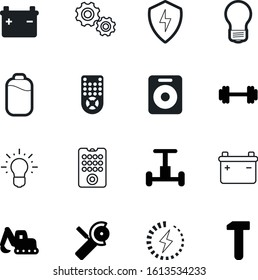 power vector icon set such as: stereo, gyroscope, shield, engine, carpentry, one, bulldozer, vehicle, earth, charger, volume, renovation, muscle, secure, protect, scooter, grinder, low, charging
