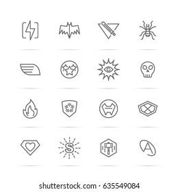 superhero�s power vector line icons, minimal pictogram design, editable stroke for any resolution