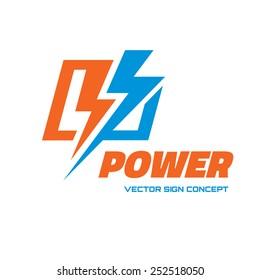 Power - vector logo template concept illustration. Lightning electricity sign. Design element.