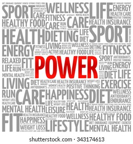 POWER word cloud background, health concept