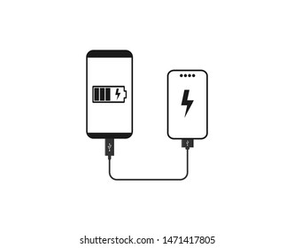 Powerbank Charges Smartphone icon. Vector illustration, flat design.