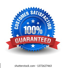Powerful 100% customer satisfaction guarantee, blue badge with red ribbon.