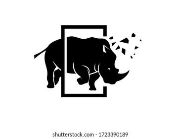 powerful angry rhino creative logo concept vector illustration