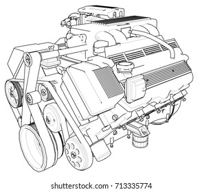 powerful car engine  the engine is drawn with black lines on a white  background