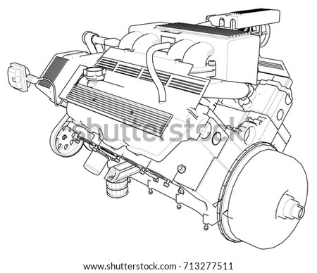 Car Engine Drawing Diagram