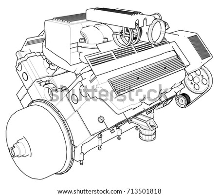 Powerful Car Engine Engine Drawn Black Stock Vector Royalty Free