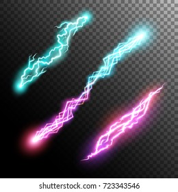 Powerful energy discharge. Collection lightnings and electricity effect.