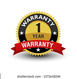 Powerful Golden badge 1 year warranty badge with red ribbon isolated on white background.