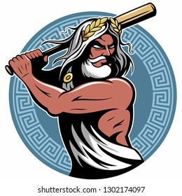 Powerful greek god Zeus with a Baseball bat in his hand, Zeus vector logo with greek circular ornament.