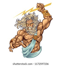Powerful greek god Zeus with a lighting bolt in hand.