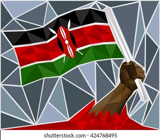 Powerful Hand Raising The Flag Of Kenya