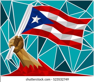 Powerful Hand Raising The Flag Of Puerto Rico