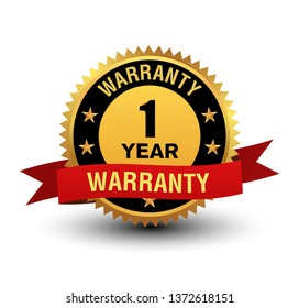 Powerful and majestic 1 year warranty label, with red ribbon on top. Isolated on white background,