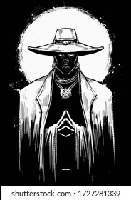 A powerful male sorcerer in a white suit and hat stands with his hands clasped at his chest, his eyes shining in the dark, the bright white sun behind him . 2D illustration