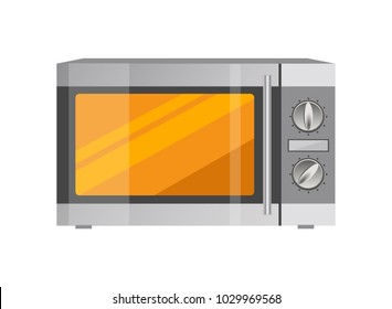 Powerful microwave oven in metallic corpus. Modern compact oven with less functions. Electric kitchen appliance to heat food vector illustration.