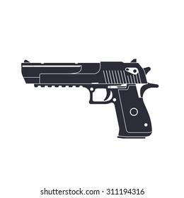 powerful pistol, gun, handgun, vector illustration, eps10, easy to edit