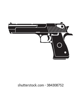 powerful pistol, gun, handgun, vector illustration, easy to edit.