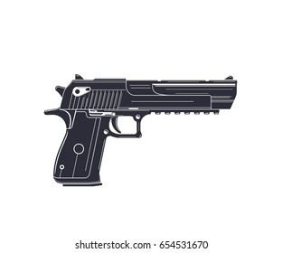 powerful pistol, handgun on white