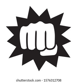 Powerful punch with impact or knockout flat vector icon for fighting apps and websites