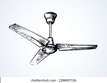 Powerful refresh spin rotor blower device in light flat house. Outline black ink hand drawn hot turn tool. Household logo pictogram in art doodle retro style pen on paper space for text. Close up view