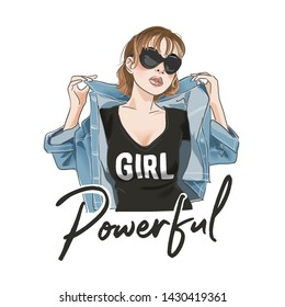 powerful slogan with cartoon girl in t shirt and jacket illustration