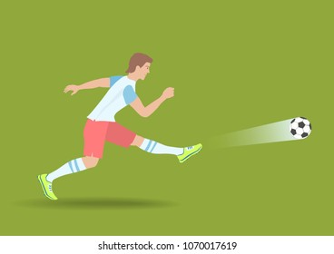 Powerful Soccer Shot. The football player kicked on a ball. Vector illustration EPS-8.
