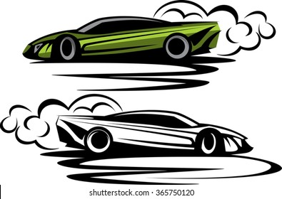 powerful sport car drifting circles around with tires smoke. ready for vinyl cut. simple unique design illustration