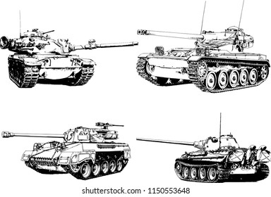 powerful tank with a gun drawn in ink freehand sketch