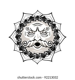 Powerful wind god blowing decorated contour symbol