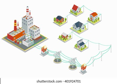 Powerhouse and electric energy distribution infographic. 3D isometric concept. Electricity industrial, industry power station, voltage electrical. Vector illustration