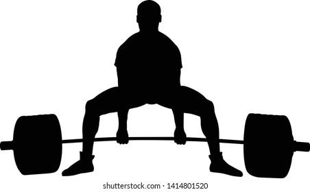powerlifting athlete exercise deadlift black silhouette on white background