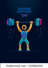 Powerlifting Muscular man training lunges with barbells over head. Vector color line pictogram