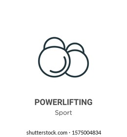 Powerlifting outline vector icon. Thin line black powerlifting icon, flat vector simple element illustration from editable sport concept isolated on white background
