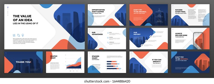 Powerpoint business presentation templates set. Use for modern keynote presentation background, brochure design, website slider, landing page, annual report, company profile, facebook banner.
