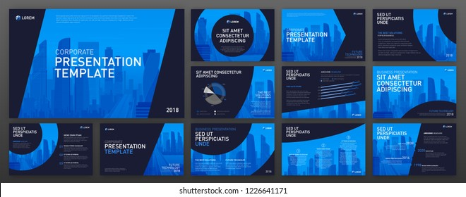Powerpoint Presentation Design Templates Set Use Stock Vector