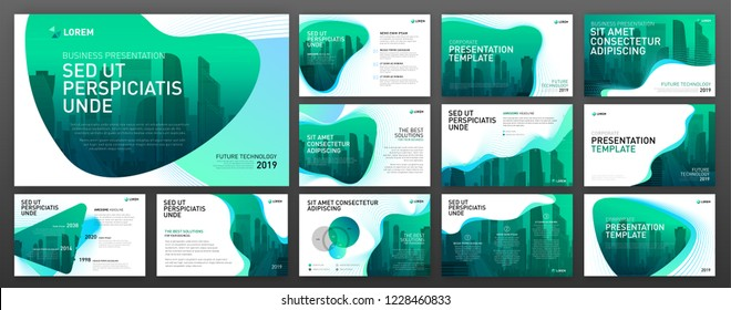 Powerpoint presentation layout set. Use for keynote presentation background, brochure design, website slider, landing page, annual report, company profile.