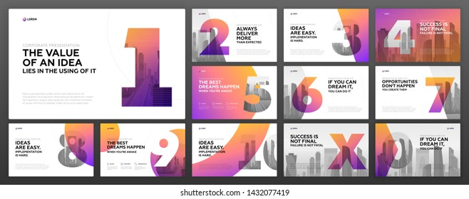 Powerpoint presentation templates set for Business. Use for modern keynote presentation background, brochure design, website slider, landing page, annual report, company profile.