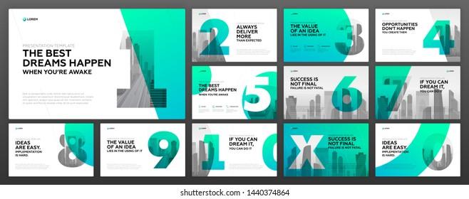 Powerpoint presentation templates set for business. Use for modern keynote presentation background, brochure design, website slider, landing page, annual report, company profile.
