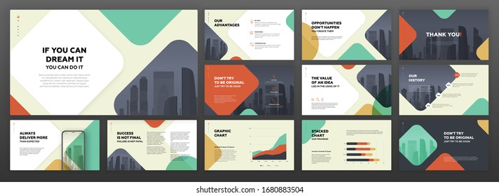 Powerpoint presentation templates set for business and technology. Use for modern keynote presentation background, brochure design, website slider, landing page, annual report, company profile.