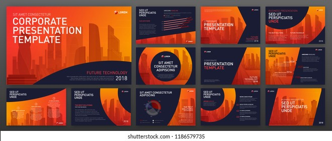Powerpoint presentation templates set. Keynote presentation backgrounds. Use for presentation background, brochure design, website slider, landing page design, annual report.