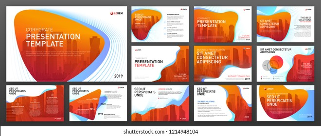 Powerpoint presentation templates set. Keynote presentation background, brochure design, website slider, landing page, annual report.