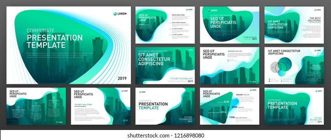 Powerpoint presentation templates set. Use for powerpoint presentation background, brochure design, landing page template, website slider, annual report.