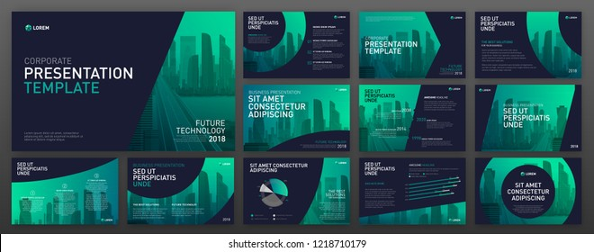 Powerpoint presentation templates set. Use for powerpoint presentation background, brochure design, website slider, landing page, annual report.