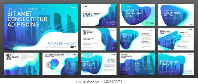 Powerpoint presentation templates set. Use for keynote presentation background, brochure design, website slider, landing page, annual report.